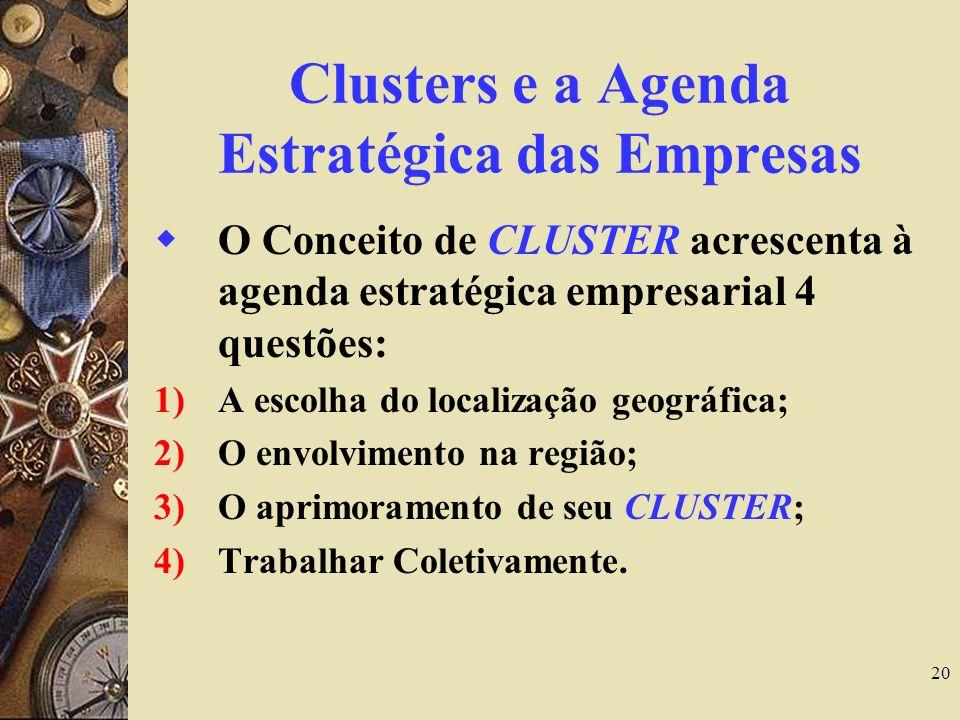 20 Clusters e a Agenda Estratégica das Empresas O Conceito de CLUSTER acrescenta à agenda estratégica empresarial 4 questões: 1)A escolha do localizaç