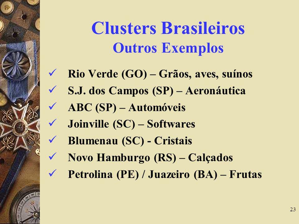 23 Clusters Brasileiros Outros Exemplos Rio Verde (GO) – Grãos, aves, suínos S.J. dos Campos (SP) – Aeronáutica ABC (SP) – Automóveis Joinville (SC) –