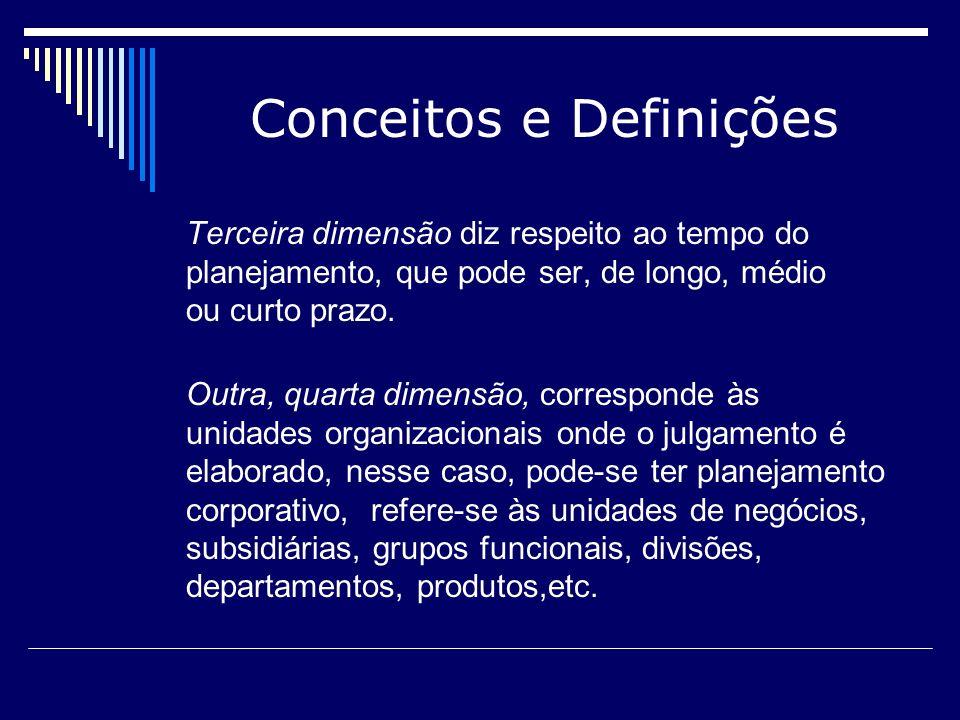 Conceitos e Definições A quinta dimensão corresponde às características do planejamento que podem ser apresentadas por complexida de ou simplicidade, qualidade ou quanti dade, planejamento estratégico ou tático, confidencial ou público, formal ou informal.