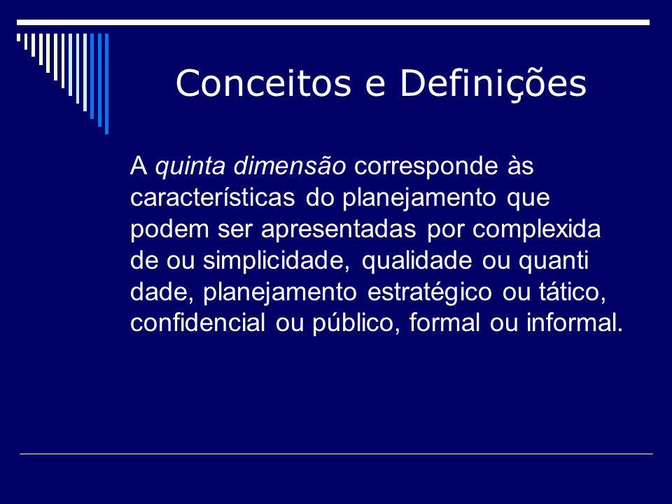 Conceitos e Definições A quinta dimensão corresponde às características do planejamento que podem ser apresentadas por complexida de ou simplicidade,
