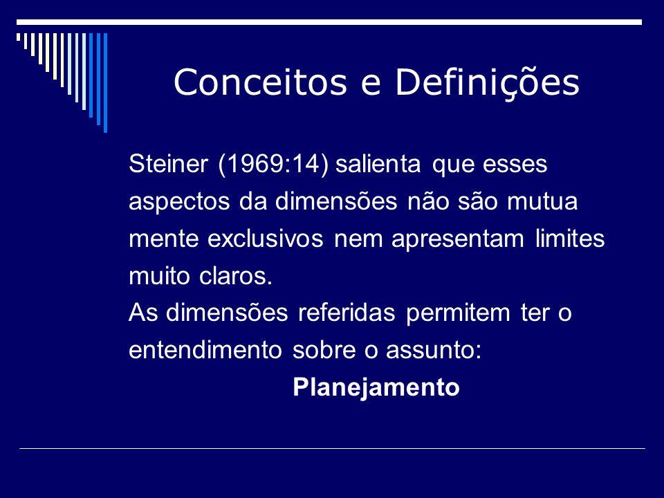 Conceitos e Definições Steiner (1969:14) salienta que esses aspectos da dimensões não são mutua mente exclusivos nem apresentam limites muito claros.