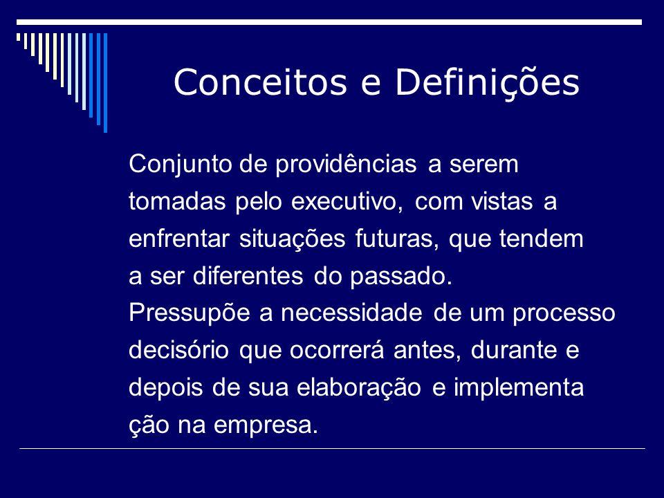 Conceitos e Definições Conjunto de providências a serem tomadas pelo executivo, com vistas a enfrentar situações futuras, que tendem a ser diferentes
