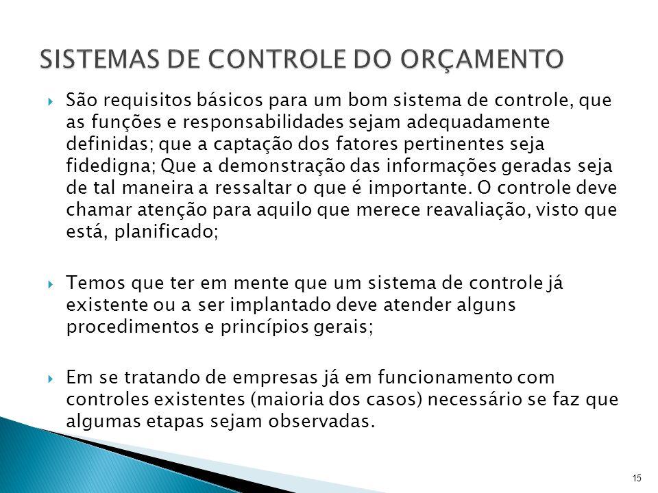 São requisitos básicos para um bom sistema de controle, que as funções e responsabilidades sejam adequadamente definidas; que a captação dos fatores p