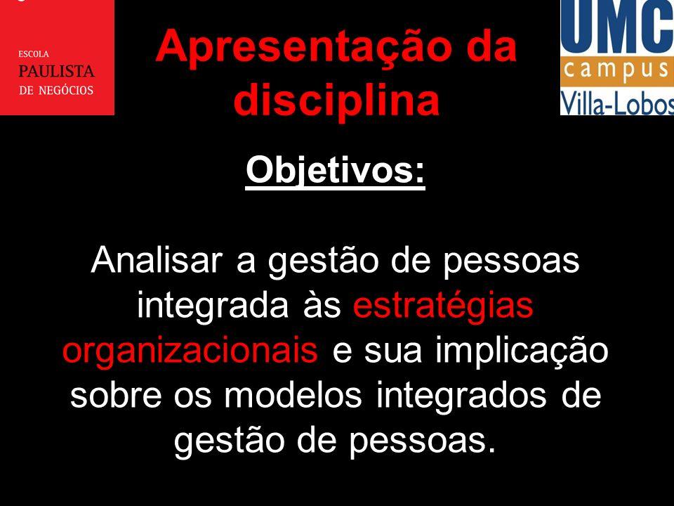 Objetivos: Analisar a gestão de pessoas integrada às estratégias organizacionais e sua implicação sobre os modelos integrados de gestão de pessoas. Ap