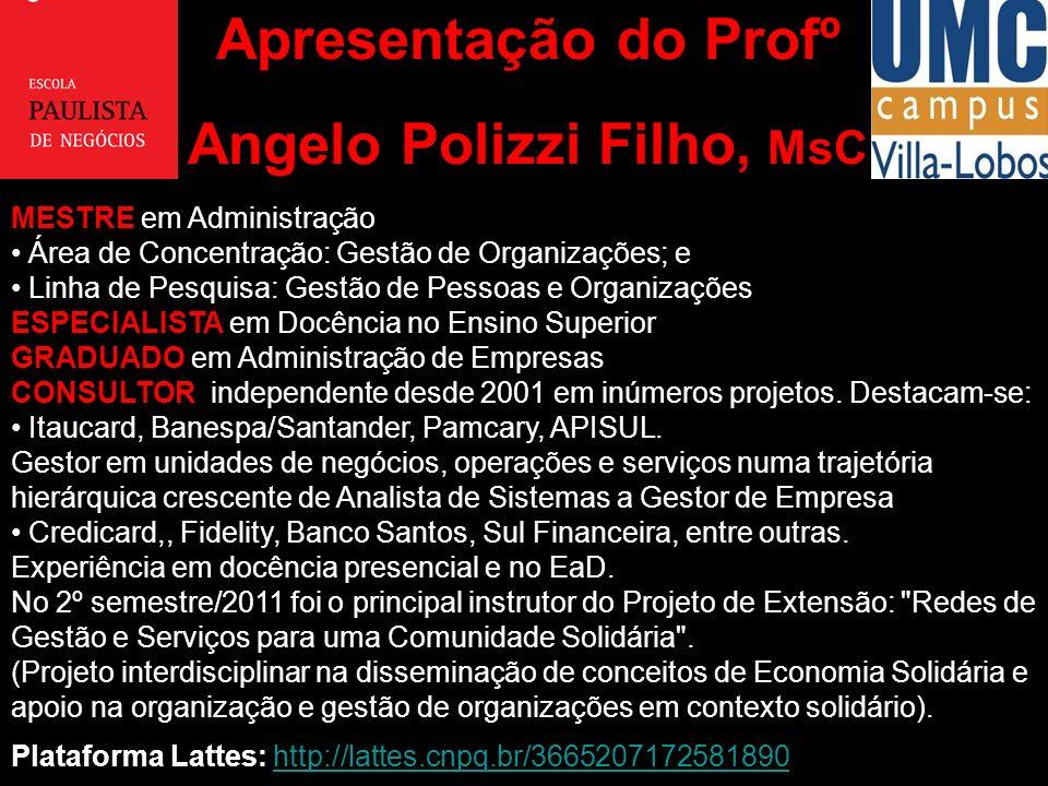 Apresentação do Profº Angelo Polizzi Filho, MsC MESTRE em Administração Área de Concentração: Gestão de Organizações; e Linha de Pesquisa: Gestão de P