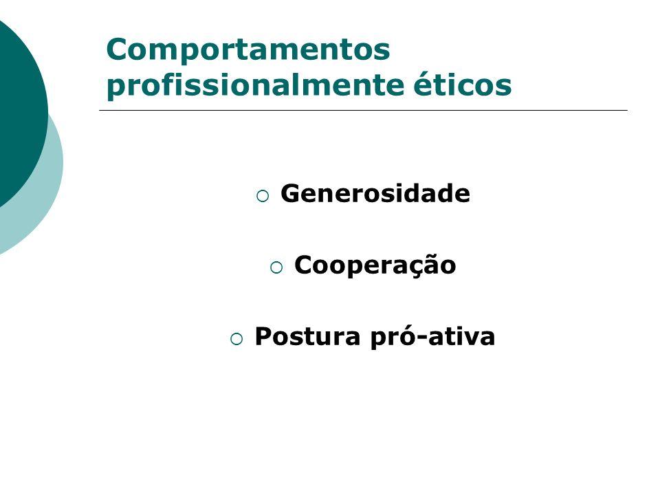 Comportamentos profissionalmente éticos Generosidade Cooperação Postura pró-ativa