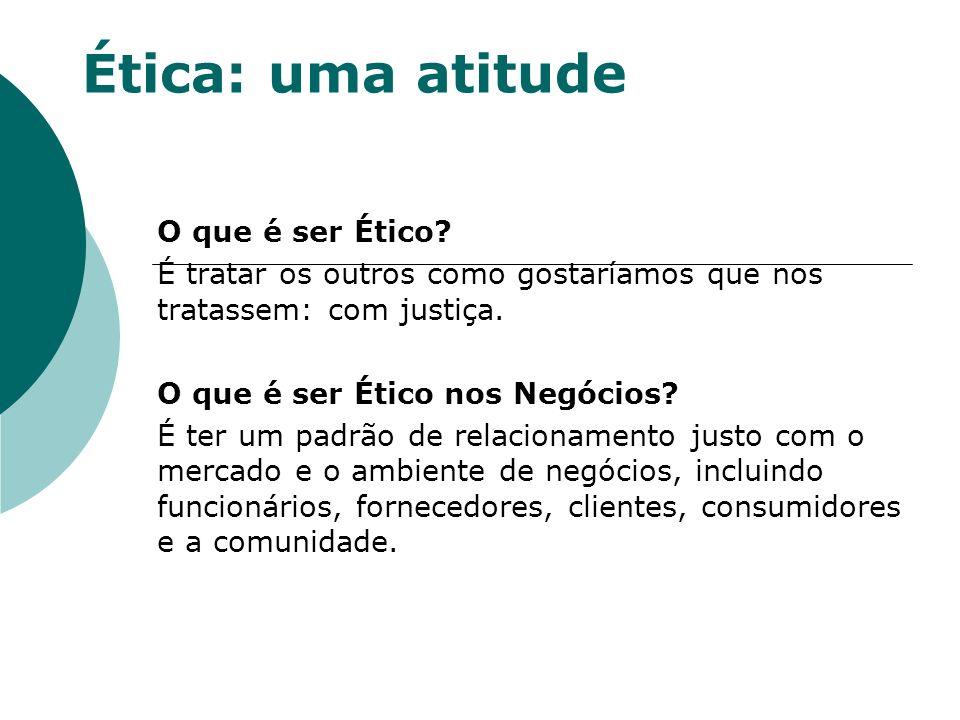 Ética: uma atitude O que é ser Ético? É tratar os outros como gostaríamos que nos tratassem: com justiça. O que é ser Ético nos Negócios? É ter um pad