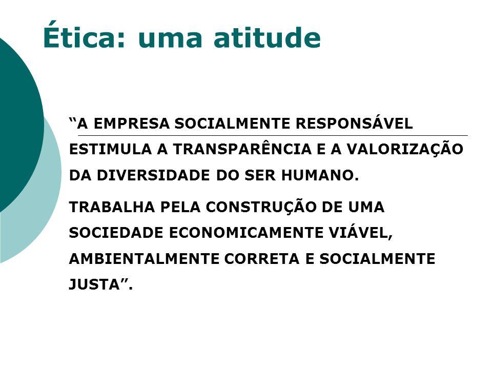 Ética: uma atitude A EMPRESA SOCIALMENTE RESPONSÁVEL ESTIMULA A TRANSPARÊNCIA E A VALORIZAÇÃO DA DIVERSIDADE DO SER HUMANO. TRABALHA PELA CONSTRUÇÃO D