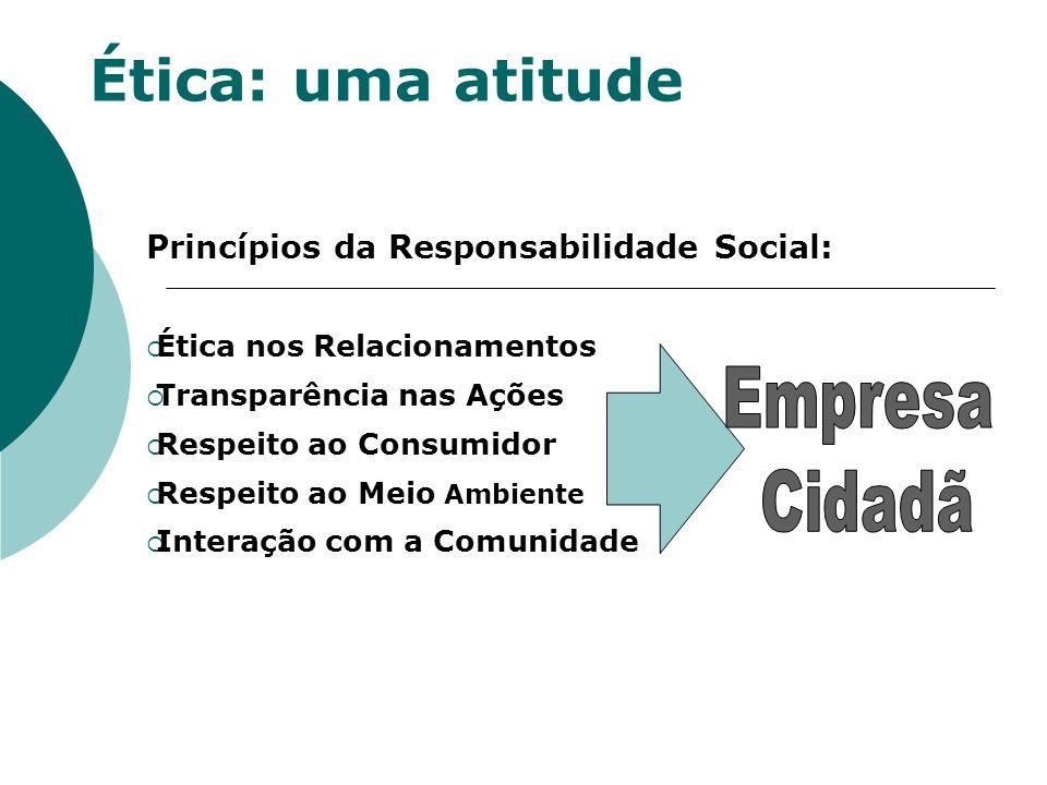 Ética: uma atitude Princípios da Responsabilidade Social: Ética nos Relacionamentos Transparência nas Ações Respeito ao Consumidor Respeito ao Meio Am