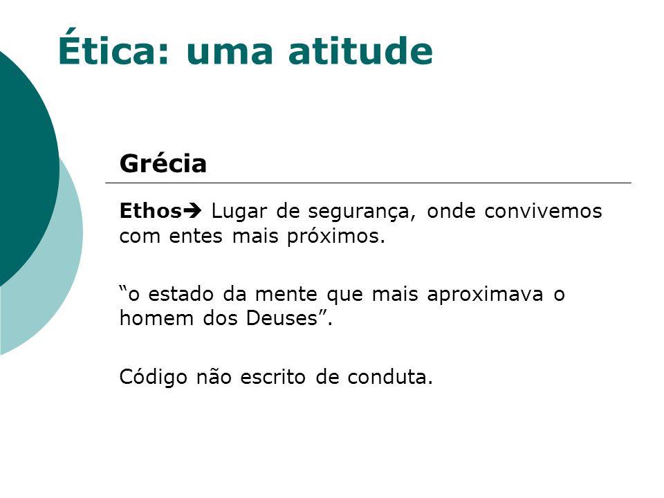 Ética: uma atitude Roma: Código de relacionamento ou de conduta adequada às circunstâncias.