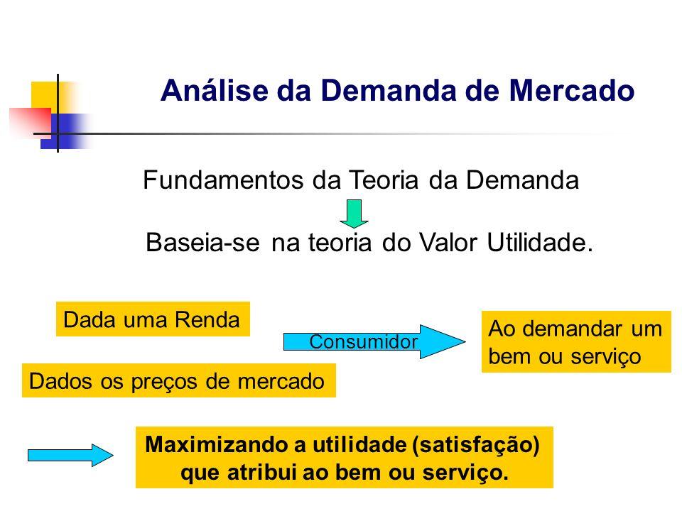 Fundamentos da Teoria da Demanda Baseia-se na teoria do Valor Utilidade. Dada uma Renda Dados os preços de mercado Consumidor Ao demandar um bem ou se