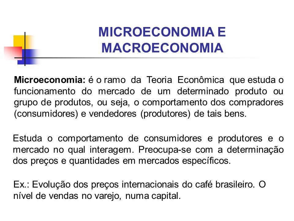 MICROECONOMIA E MACROECONOMIA Macroeconomia: é o ramo da Teoria Econômica que estuda o funcionamento como um todo, procurando identificar e medir as variáveis (agregadas) que determinam o volume da produção total (crescimento econômico), o nível de emprego e o nível geral de preços (Inflação) do sistema econômico, bem como a inserção do mesmo na economia mundial.