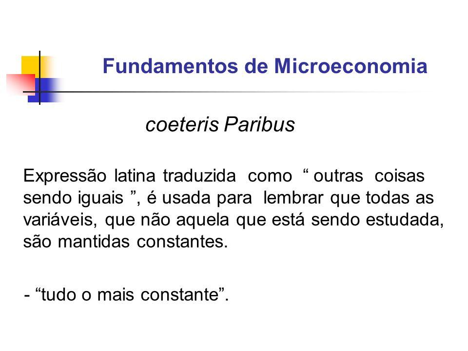 Fundamentos de Microeconomia coeteris Paribus Analisar um mercado isoladamente Supor todos os demais mercados constantes - O mercado em estudo não afeta e não é afetado pelos demais.