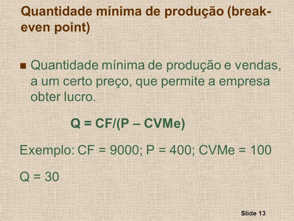 Slide 13 Quantidade mínima de produção e vendas, a um certo preço, que permite a empresa obter lucro. Q = CF/(P – CVMe) Exemplo: CF = 9000; P = 400; C