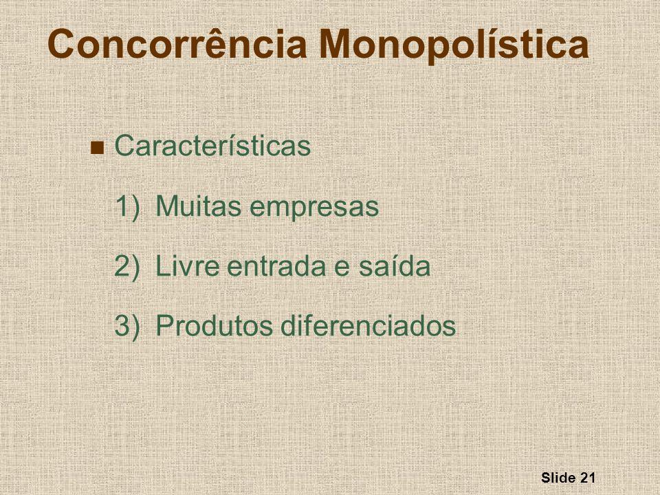 Slide 21 Concorrência Monopolística Características 1)Muitas empresas 2)Livre entrada e saída 3)Produtos diferenciados