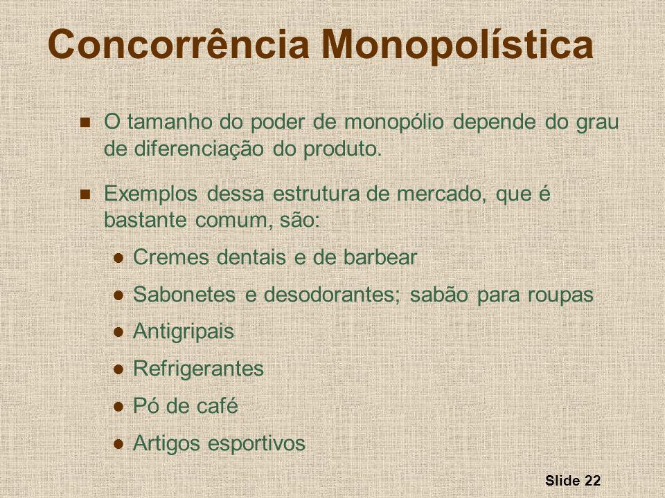 Slide 22 Concorrência Monopolística O tamanho do poder de monopólio depende do grau de diferenciação do produto. Exemplos dessa estrutura de mercado,