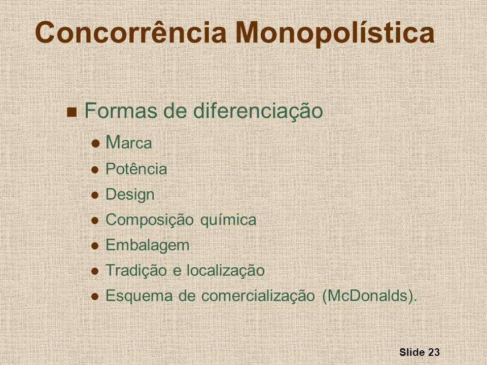 Slide 23 Concorrência Monopolística Formas de diferenciação M arca Potência Design Composição química Embalagem Tradição e localização Esquema de come