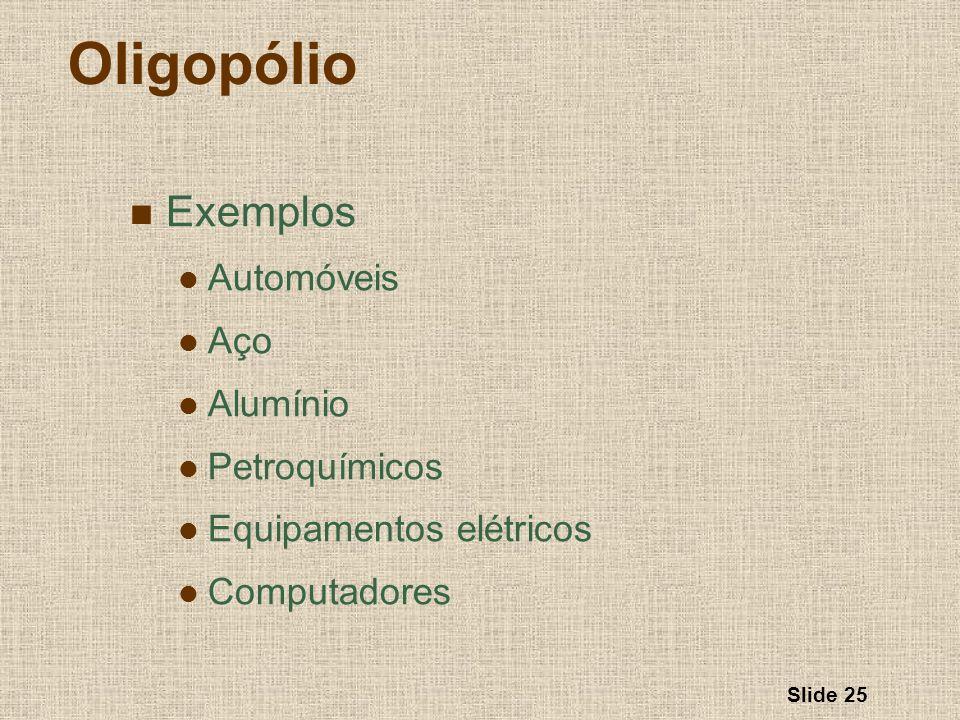 Slide 25 Oligopólio Exemplos Automóveis Aço Alumínio Petroquímicos Equipamentos elétricos Computadores