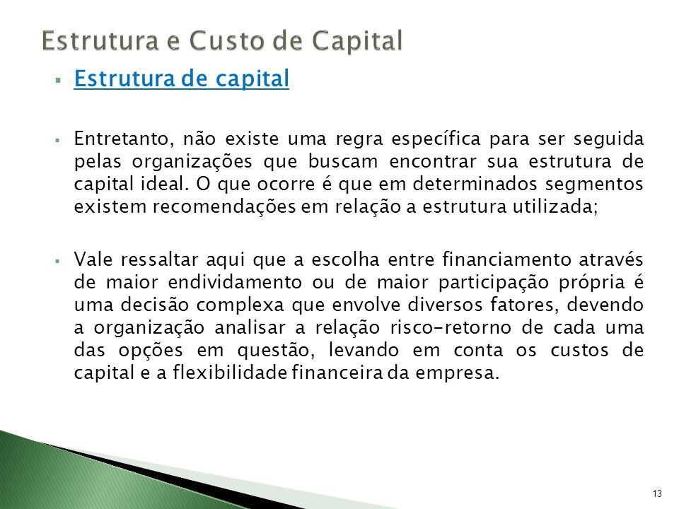 Estrutura de capital Entretanto, não existe uma regra específica para ser seguida pelas organizações que buscam encontrar sua estrutura de capital ide