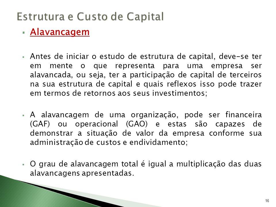 Alavancagem Antes de iniciar o estudo de estrutura de capital, deve-se ter em mente o que representa para uma empresa ser alavancada, ou seja, ter a p