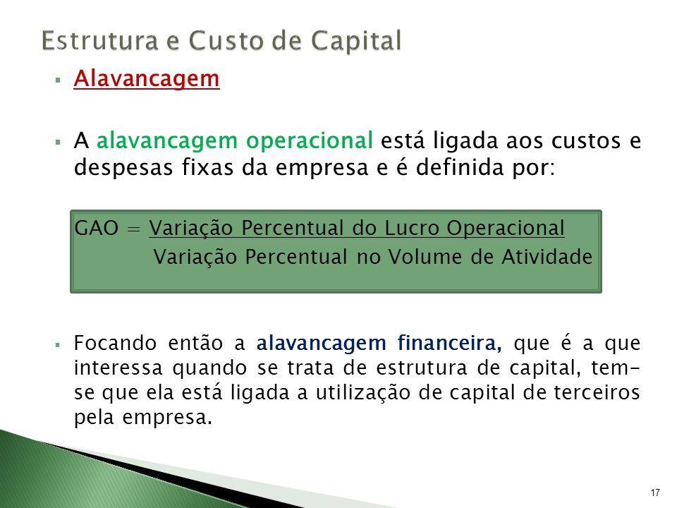 Alavancagem A alavancagem operacional está ligada aos custos e despesas fixas da empresa e é definida por: GAO = Variação Percentual do Lucro Operacio