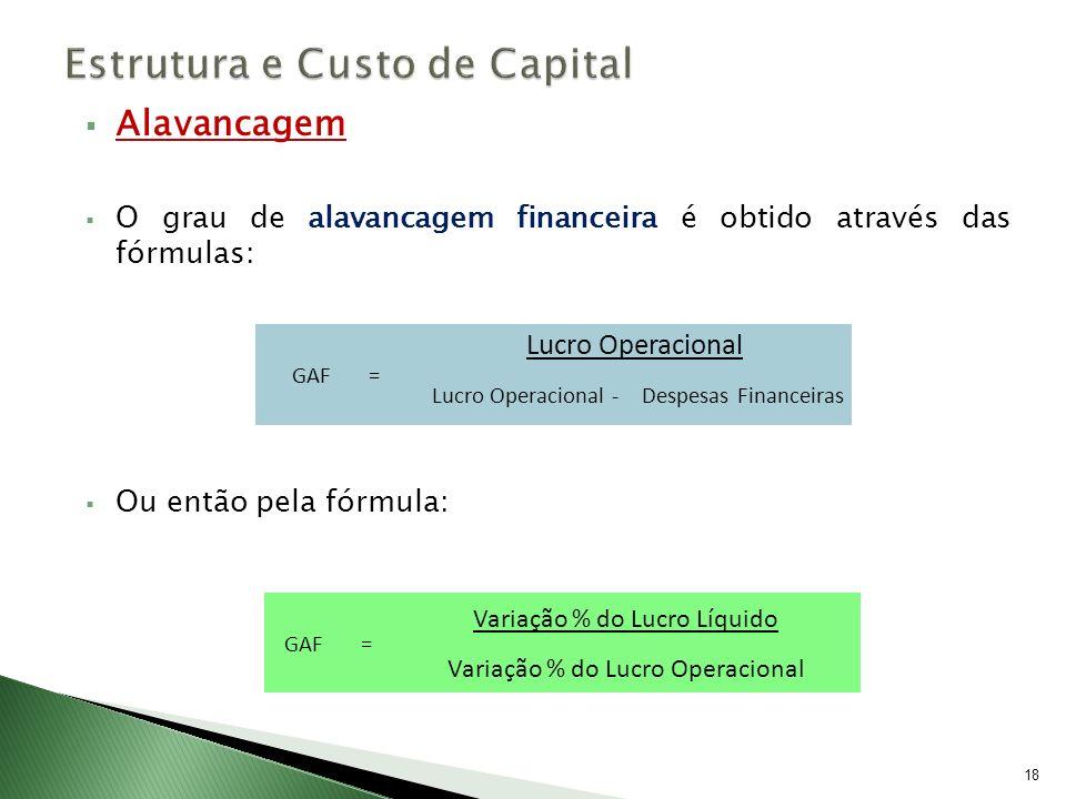 Alavancagem O grau de alavancagem financeira é obtido através das fórmulas: Ou então pela fórmula: 18 GAF = Lucro Operacional Lucro Operacional -Despe