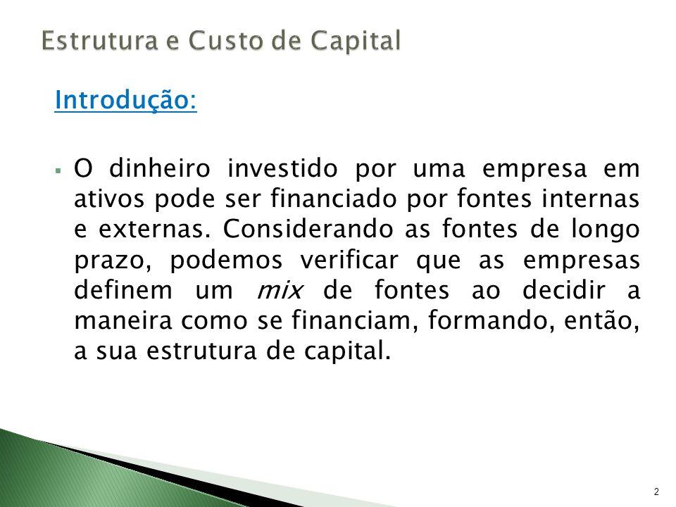 Introdução: O dinheiro investido por uma empresa em ativos pode ser financiado por fontes internas e externas. Considerando as fontes de longo prazo,