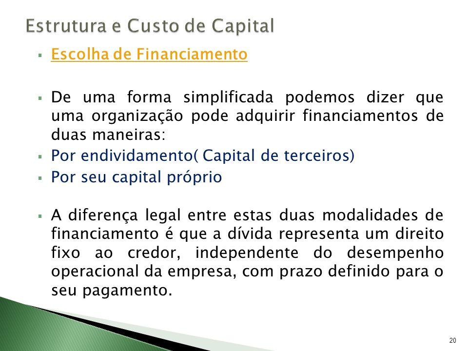 Escolha de Financiamento De uma forma simplificada podemos dizer que uma organização pode adquirir financiamentos de duas maneiras: Por endividamento(