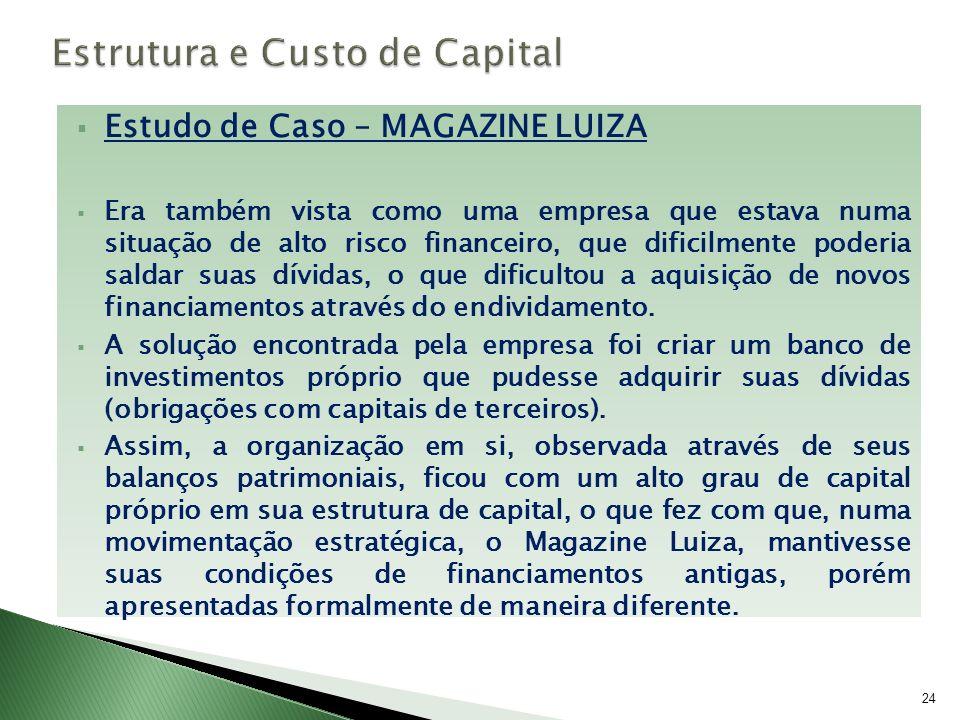 Estudo de Caso – MAGAZINE LUIZA Era também vista como uma empresa que estava numa situação de alto risco financeiro, que dificilmente poderia saldar s