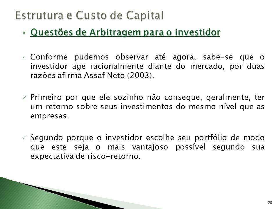 Questões de Arbitragem para o investidor Questões de Arbitragem para o investidor Conforme pudemos observar até agora, sabe-se que o investidor age ra