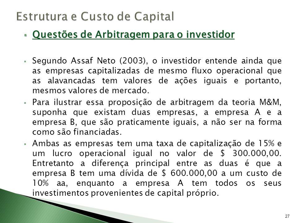 Questões de Arbitragem para o investidor Questões de Arbitragem para o investidor Segundo Assaf Neto (2003), o investidor entende ainda que as empresa