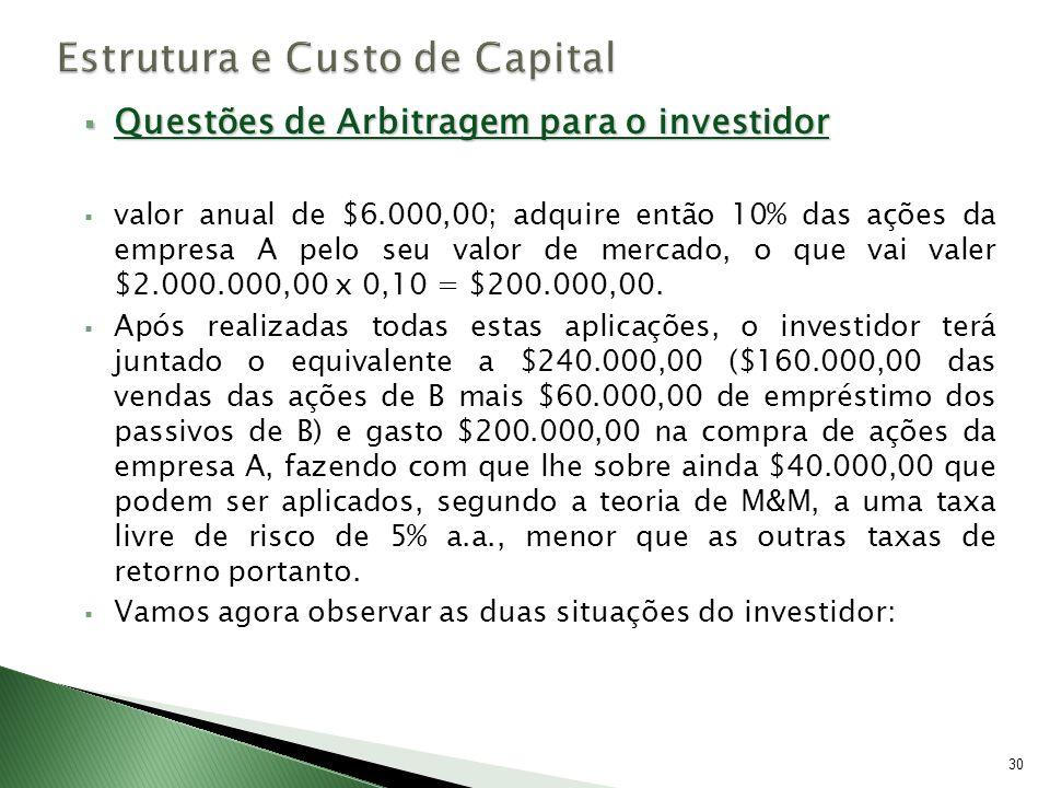 Questões de Arbitragem para o investidor Questões de Arbitragem para o investidor valor anual de $6.000,00; adquire então 10% das ações da empresa A p