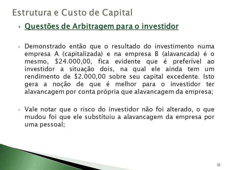 Questões de Arbitragem para o investidor Questões de Arbitragem para o investidor Demonstrado então que o resultado do investimento numa empresa A (ca