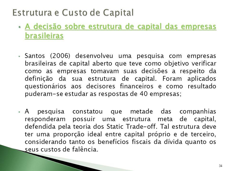 A decisão sobre estrutura de capital das empresas brasileiras A decisão sobre estrutura de capital das empresas brasileiras Santos (2006) desenvolveu