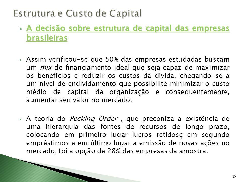 A decisão sobre estrutura de capital das empresas brasileiras A decisão sobre estrutura de capital das empresas brasileiras Assim verificou-se que 50%