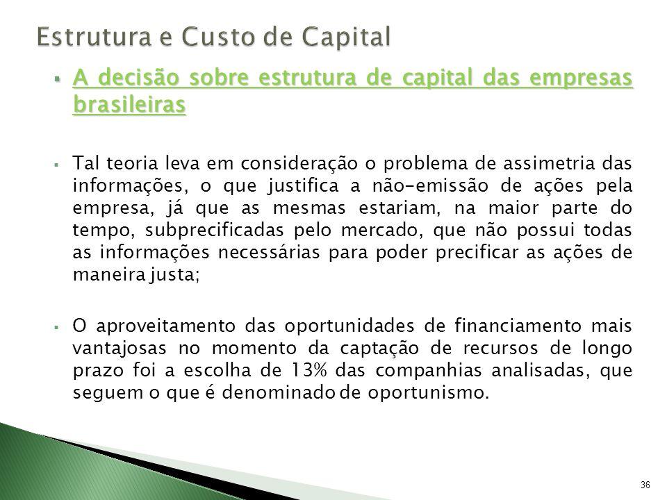 A decisão sobre estrutura de capital das empresas brasileiras A decisão sobre estrutura de capital das empresas brasileiras Tal teoria leva em conside