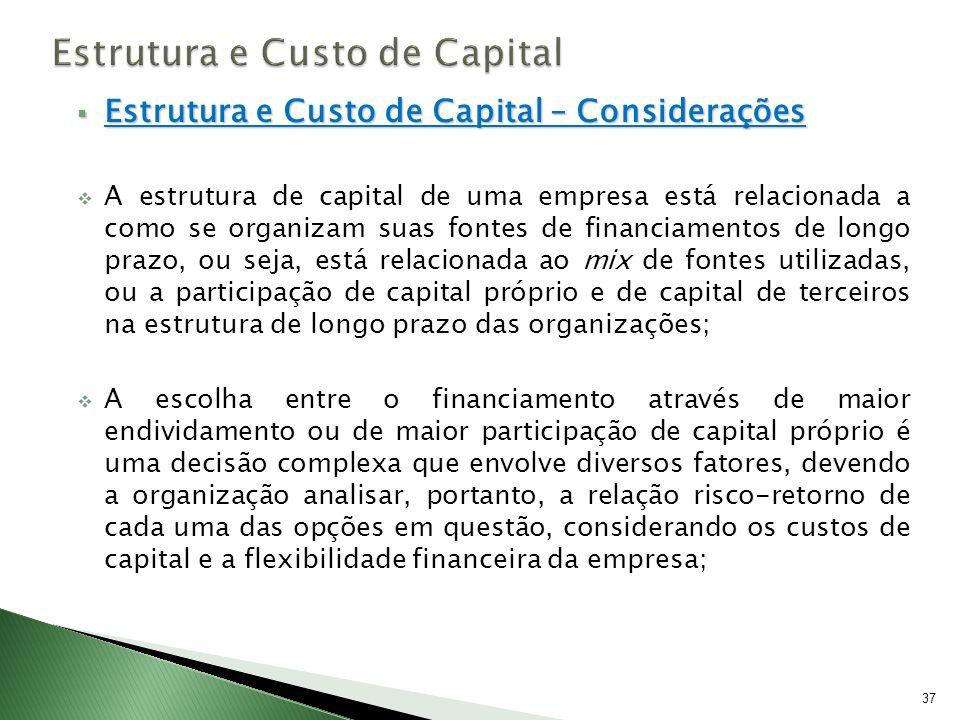 Estrutura e Custo de Capital – Considerações Estrutura e Custo de Capital – Considerações A estrutura de capital de uma empresa está relacionada a com