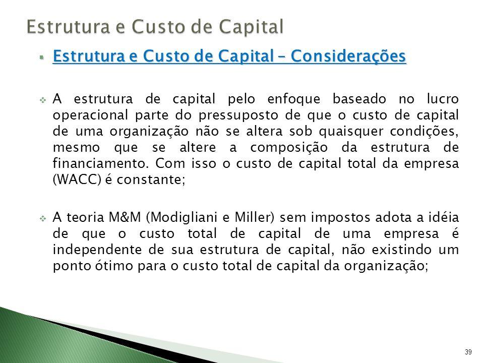 Estrutura e Custo de Capital – Considerações Estrutura e Custo de Capital – Considerações A estrutura de capital pelo enfoque baseado no lucro operaci