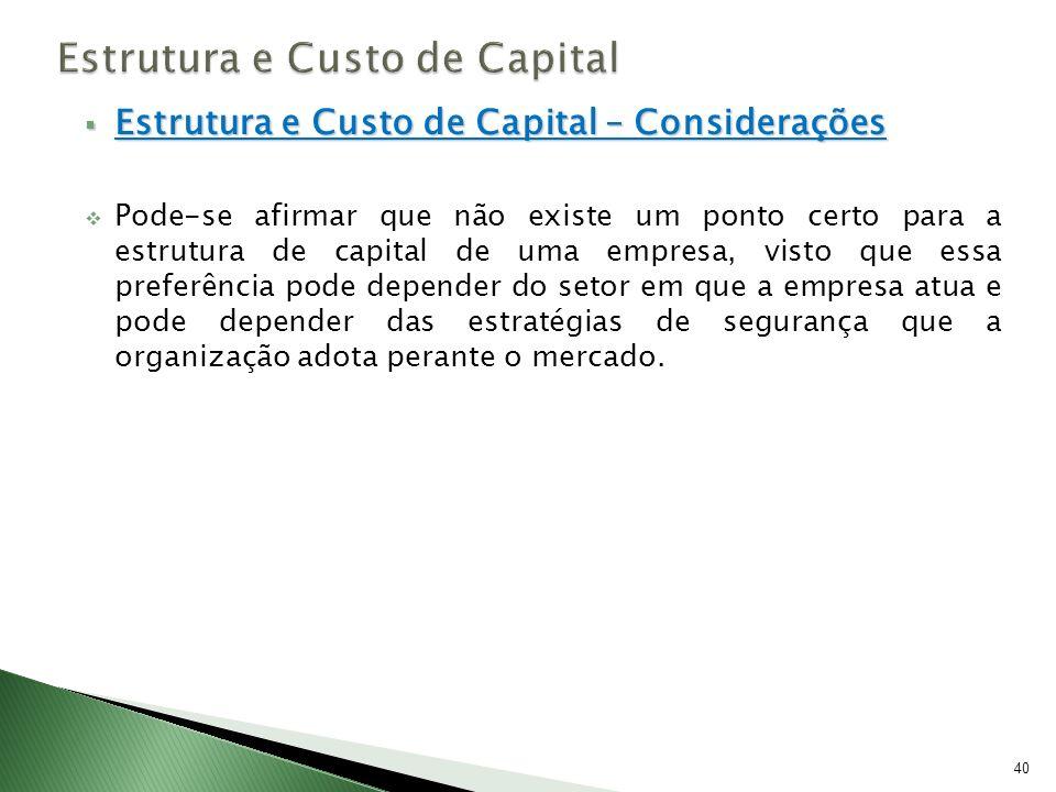 Estrutura e Custo de Capital – Considerações Estrutura e Custo de Capital – Considerações Pode-se afirmar que não existe um ponto certo para a estrutu