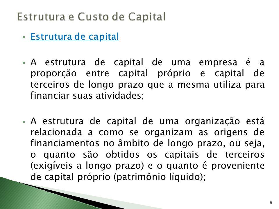 Estrutura de capital A estrutura de capital de uma empresa é a proporção entre capital próprio e capital de terceiros de longo prazo que a mesma utili