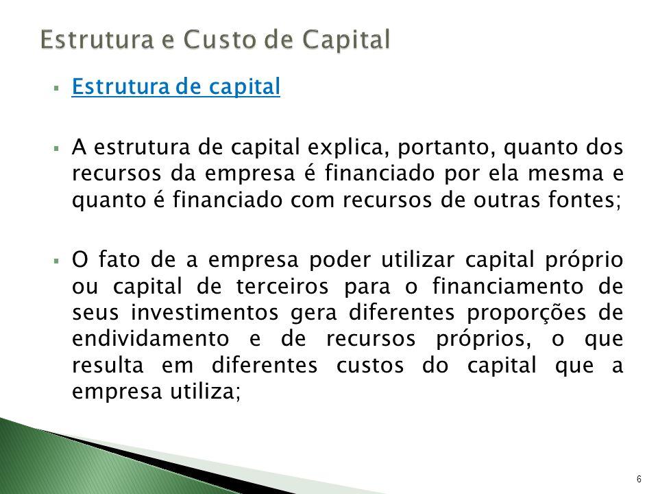 Estrutura de capital A estrutura de capital explica, portanto, quanto dos recursos da empresa é financiado por ela mesma e quanto é financiado com rec