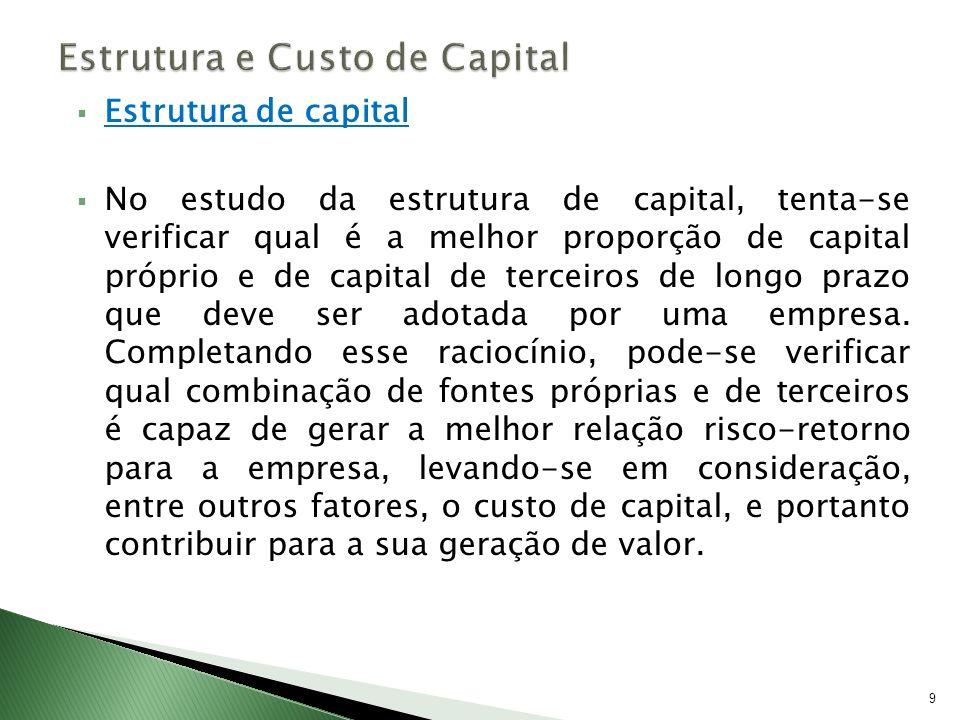 Estrutura de capital No estudo da estrutura de capital, tenta-se verificar qual é a melhor proporção de capital próprio e de capital de terceiros de l