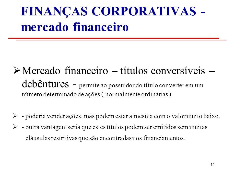 FINANÇAS CORPORATIVAS - mercado financeiro Mercado financeiro – títulos conversíveis – debêntures - permite ao possuidor do título converter em um número determinado de ações ( normalmente ordinárias ).