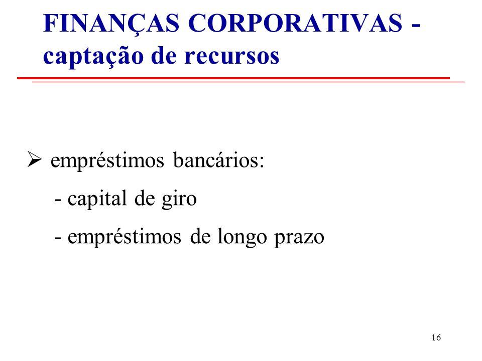 FINANÇAS CORPORATIVAS - captação de recursos empréstimos bancários: - capital de giro - empréstimos de longo prazo 16