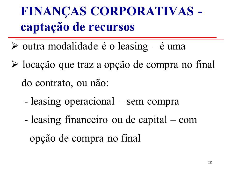 FINANÇAS CORPORATIVAS - captação de recursos outra modalidade é o leasing – é uma locação que traz a opção de compra no final do contrato, ou não: - leasing operacional – sem compra - leasing financeiro ou de capital – com opção de compra no final 20
