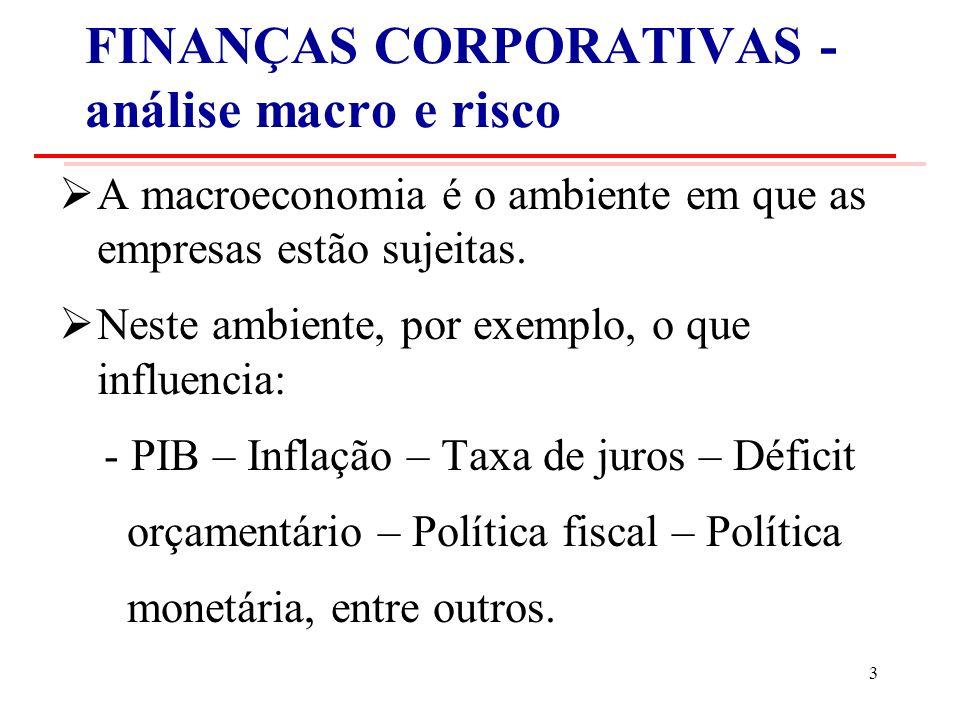 FINANÇAS CORPORATIVAS - análise macro e risco A macroeconomia é o ambiente em que as empresas estão sujeitas.