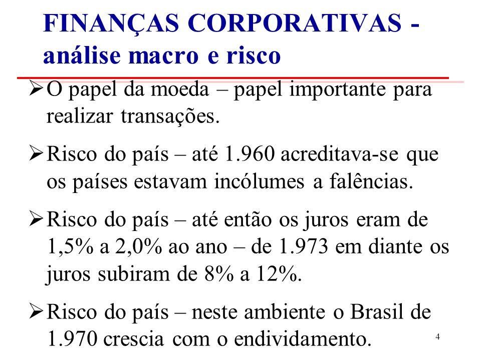 FINANÇAS CORPORATIVAS - análise macro e risco O papel da moeda – papel importante para realizar transações.
