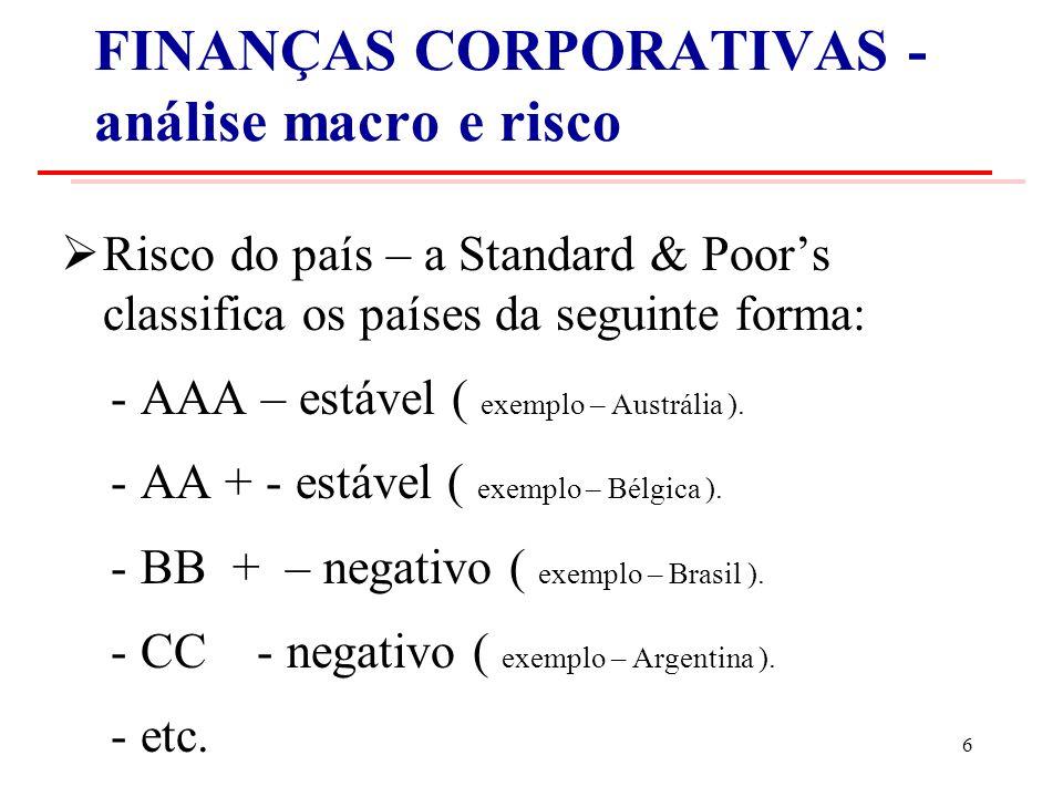 FINANÇAS CORPORATIVAS - análise macro e risco Risco do país – a Standard & Poors classifica os países da seguinte forma: - AAA – estável ( exemplo – Austrália ).