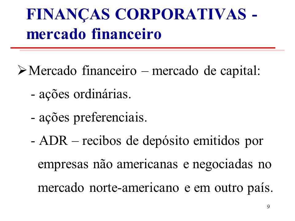 FINANÇAS CORPORATIVAS - mercado financeiro Mercado financeiro – mercado de capital: - ações ordinárias.