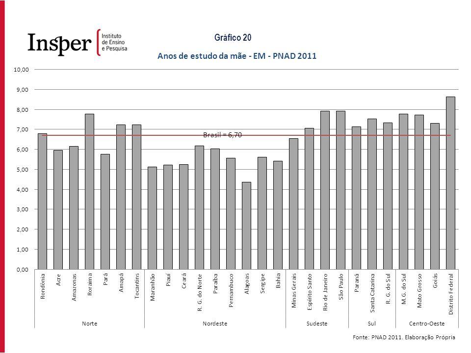 Fonte: PNAD 2011. Elaboração Própria Gráfico 20